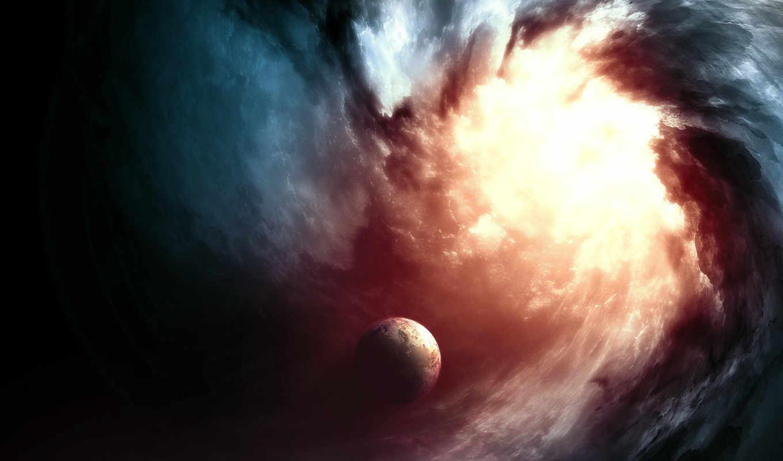 планета, картинка, вихрь, свет, космос, рисунок, вспышка, изображение, hole, black, firey, fractured, singularity,