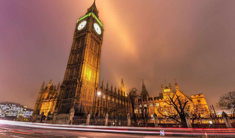 big, ben, лондоне, фоне, britain, great, london, туманного, неба,