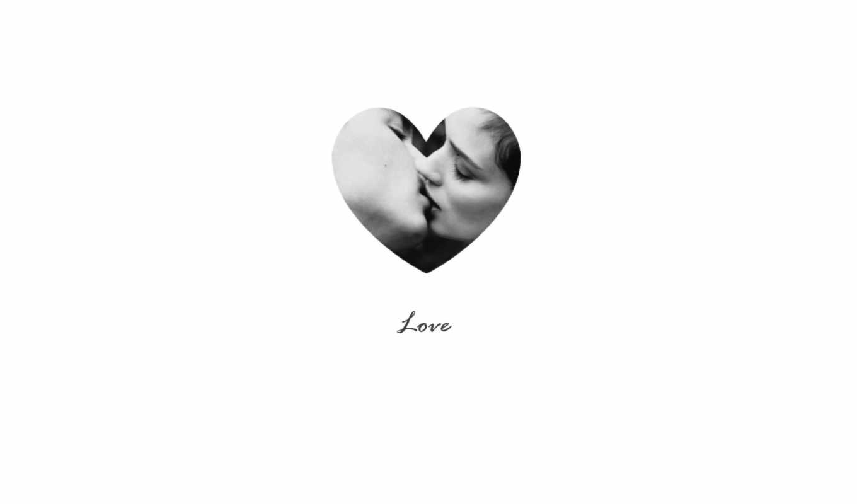 любовь, поцелуй, черно-белый, фото