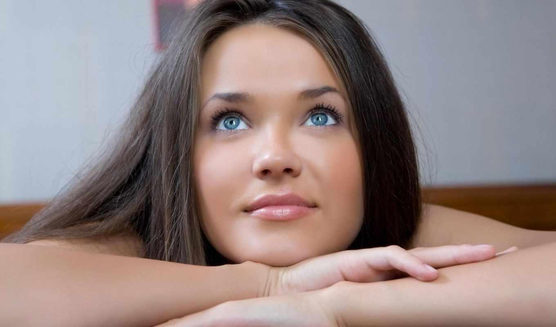 девушка, браун, глаза, взгляд, лежит, красивая,