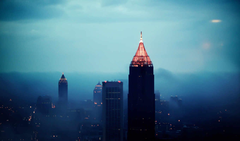 город, вечер, огни, небоскребы, height, свет, туман,