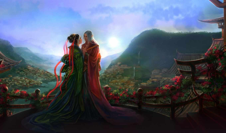 fantasy, love, elfy, pair, anndr, девушка, закат, landscape, два, город, страница,
