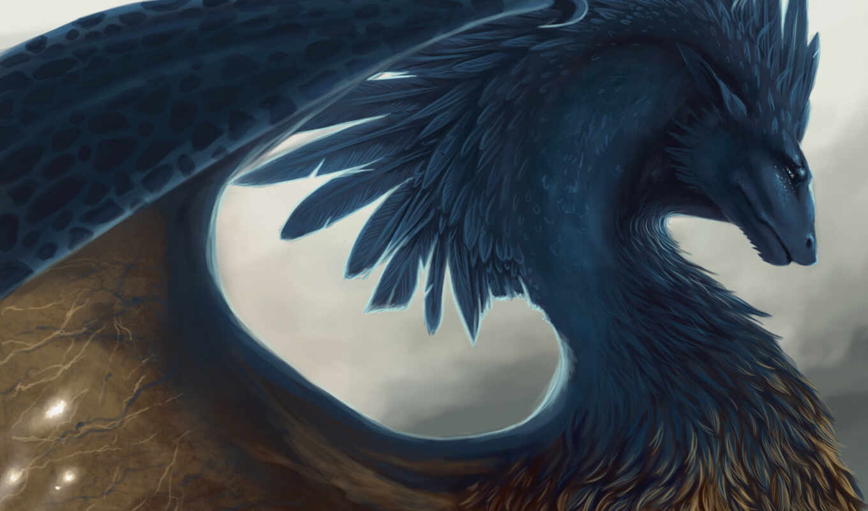 дракон, fantastic, картинка, перо