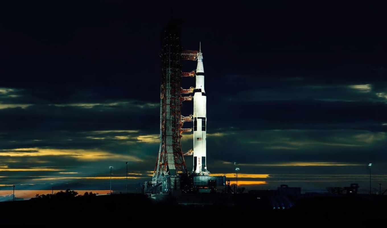ночь, ракета, космодром, облака, картинка, nasa,