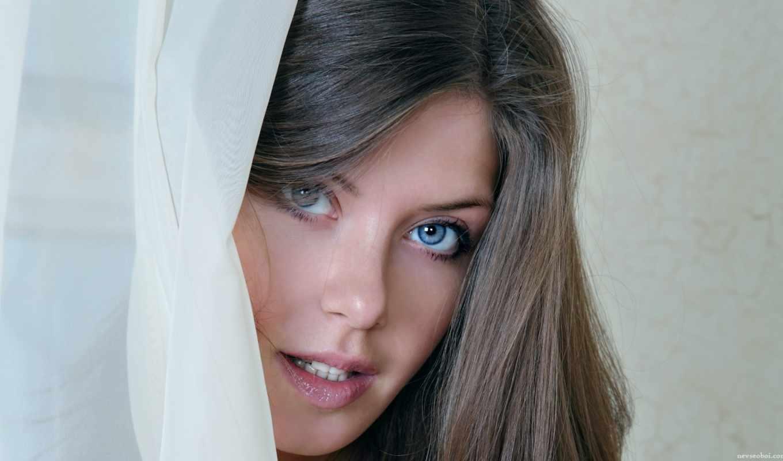 девушка, девушки, лицо, волосы, занавеска, взгляд, глаза,