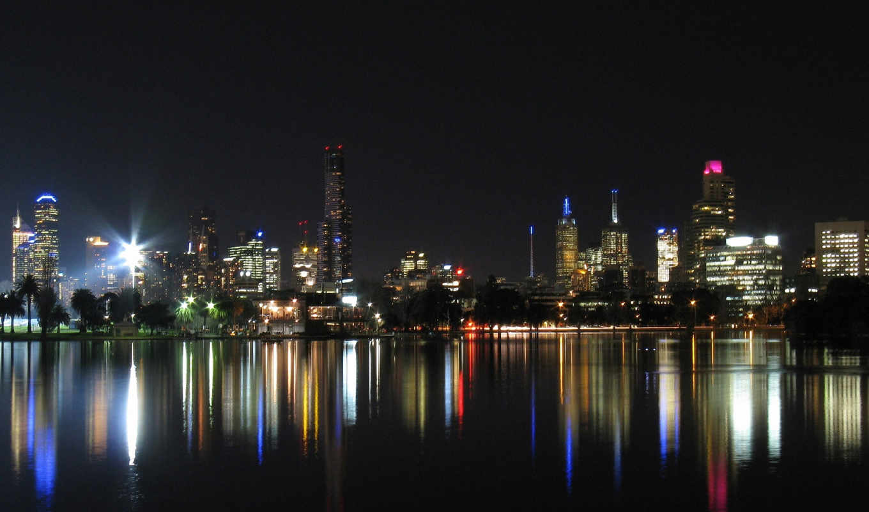город, ночь, отражение, япония, огни,