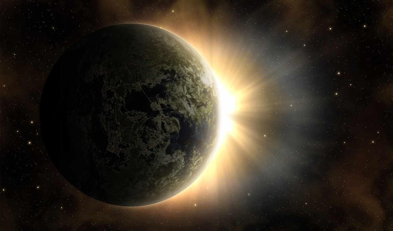 sun, рассвет, land, космос, planet, звезды,