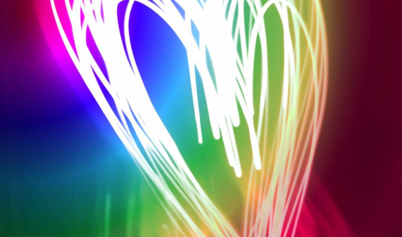 neon, свет, краски, сердце, линии, тона,