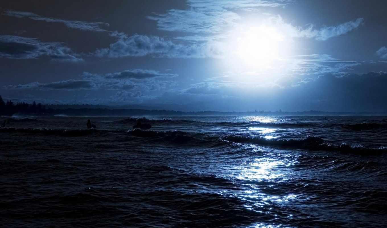 море, ночь, луна, волны, сёрфинг, лучи,