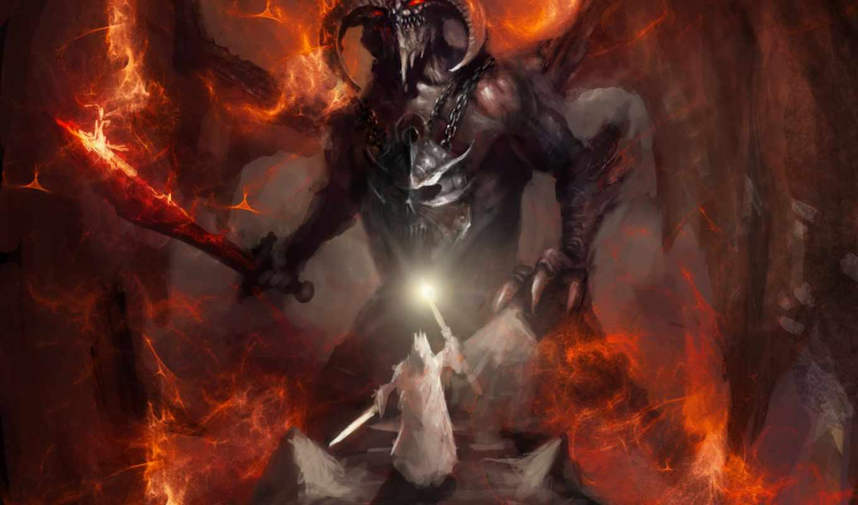 art, фантастика, демон, рога, картинка, цепи, ад, оружие,