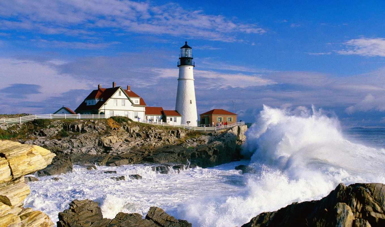 lighthouse, море, природа, волны, скалы, добавлено, обоях, года,