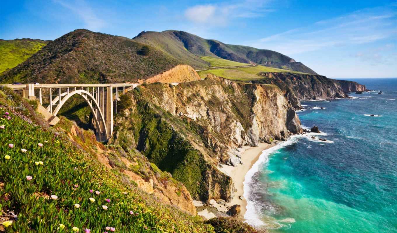 мост, bixby, sur, биг, заводь, california, usa, терминатор,