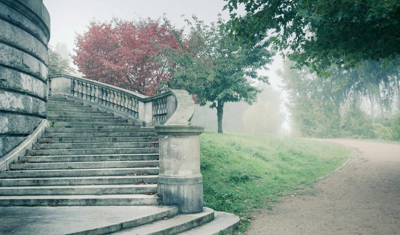 дорога, ступени, туман, смотрите, широкоформатные, stage,
