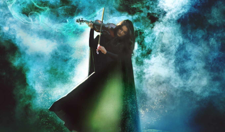 скрипка, девушка, туман,