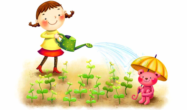 нарисованные, девочка, ростки, медвежонок, улыбка, зонтик, лейка
