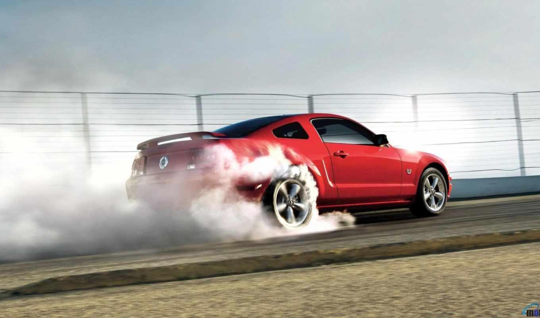mustang, ford, дым, машины, колёс, под,