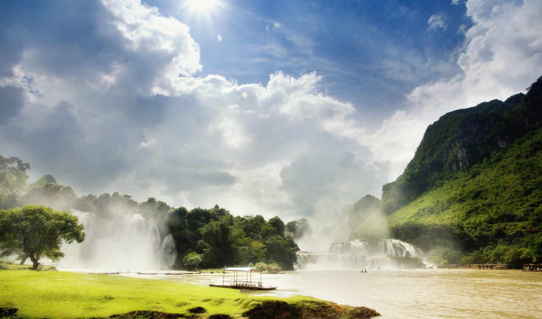 река, desktop, рай, sun, взгляд, девушка, hills, splendid,