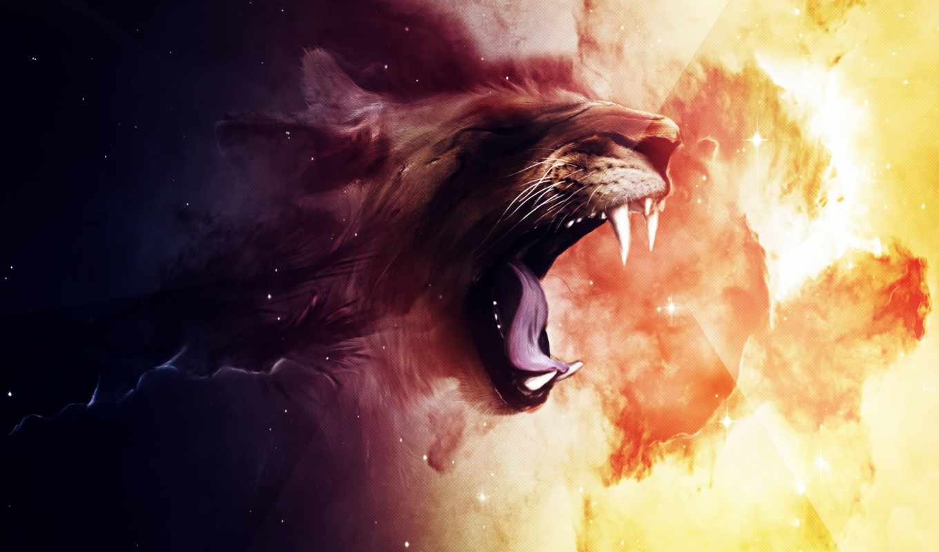 lion, cool, desktop, full, roaring, widescreen,