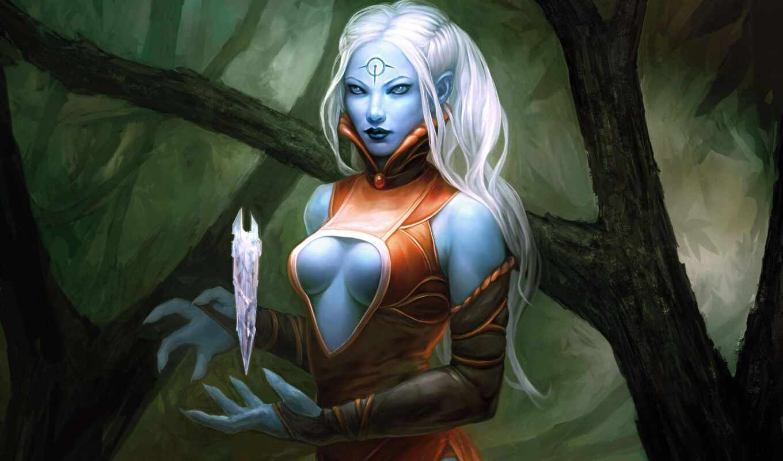 эльф, blue, skin, crystal, магия, dark, artwork, art