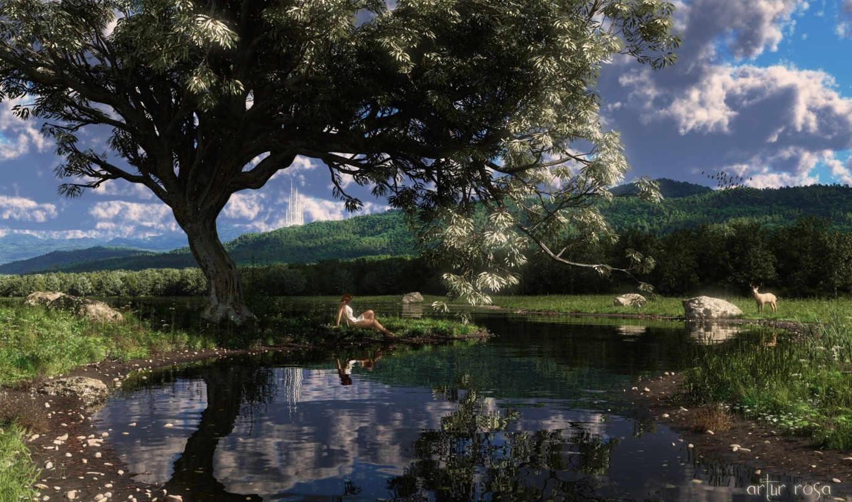 обои, пруд, лань, арт, девушка, вода, дерево, озер