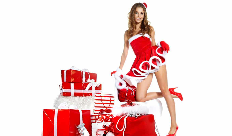 девушка, new, год, подарками, красивая,