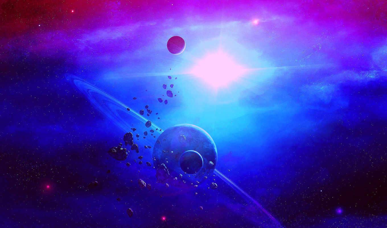 ,космос, кольца, planet, астероиды,