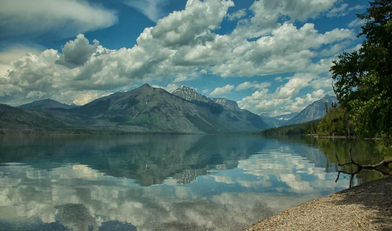 пейзажи -, озеро, national, kintail, park, montana, параметры, загрузок, mountains, скалистый, glacier,