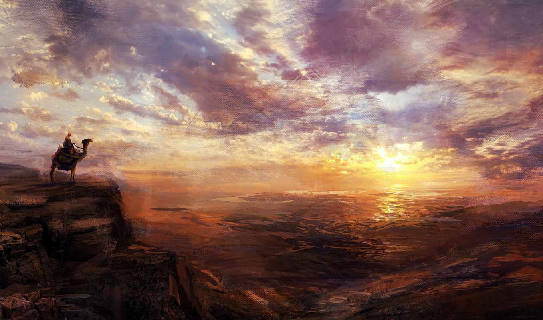 живопись, landscape, небо, закат,