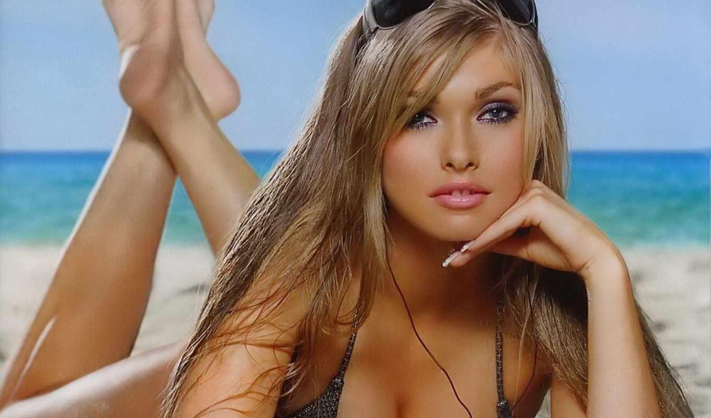girls, девушка, глаза, пляж, blonde, blue, купальник, категория, море,