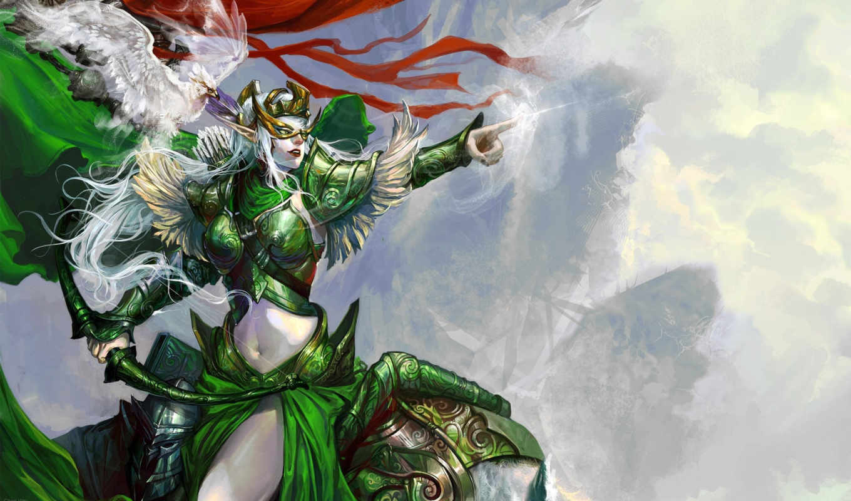 art, chen, wei, девушка, маска, fantasy, птица, зеленое, лук, знамя, devushki,