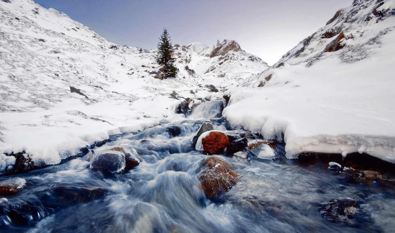 река, снег, winter, природа, камни,