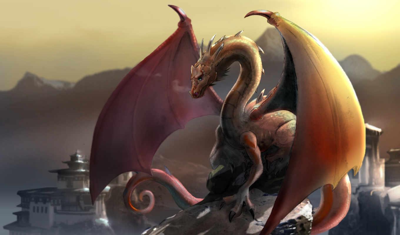 дракон, горы, тибет, картинка, картинку, кнопкой, мыши,