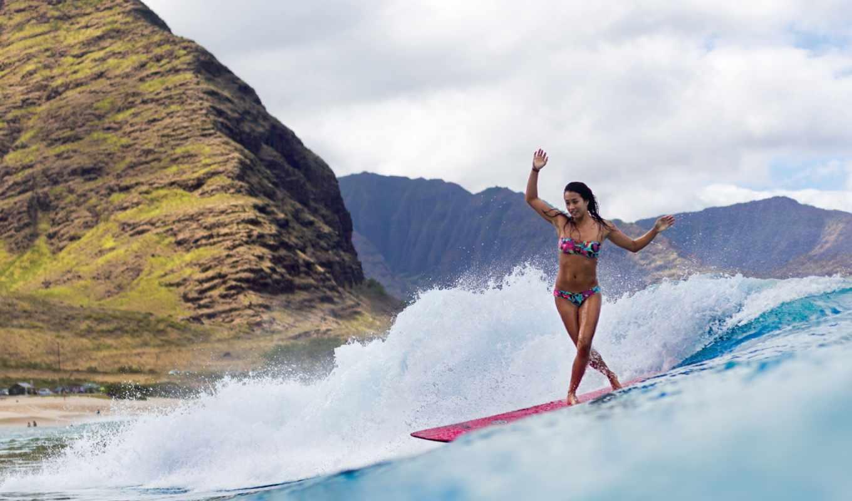 сёрфинг, девушка, доска, ocean, спорт, пляж, горы, море,