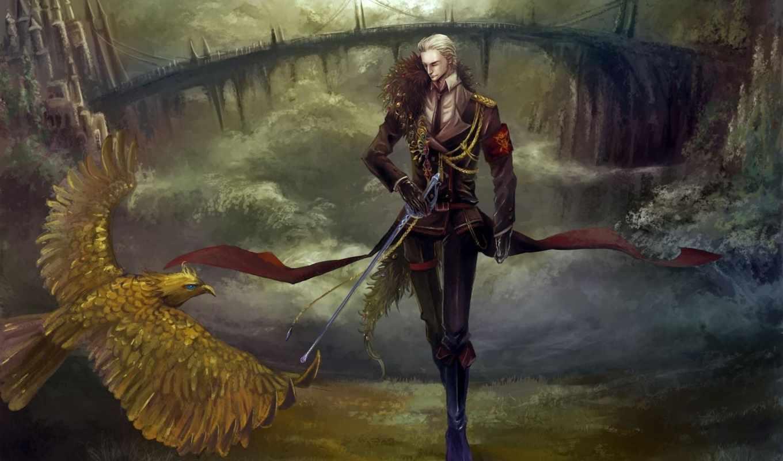парень, птица, sabre, art, fantasy, замок, форма, оружие, мост,