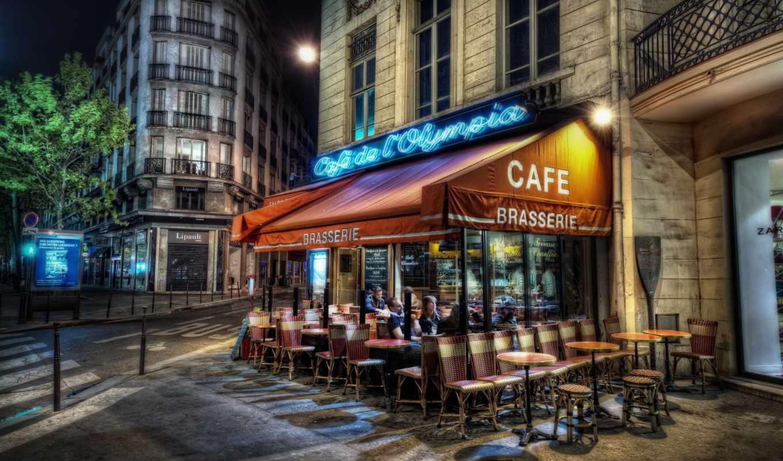 кафе, париж, париже, франция, улица, вечер, уличное,
