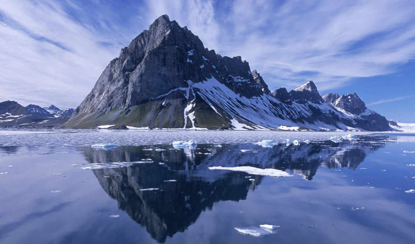 norway, spitsbergen, mountain, reflections, wallpa