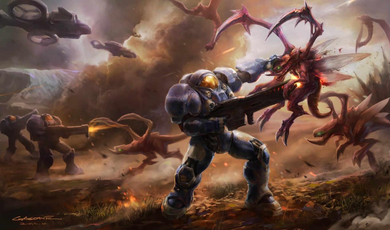 starcraft, монстры, битва, gasone, арт, оружие, войны, смартфона, планшета, монитора, номером, экрана,
