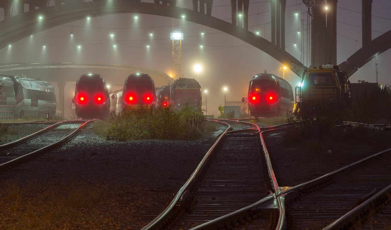 поезда, железные, дороги, фонари,