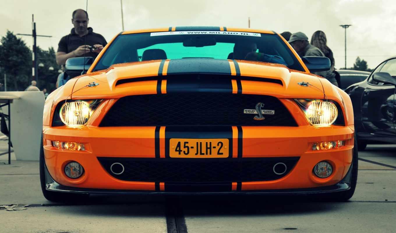 автомобили, mustang, ford, shelby, оранжевый, машины,