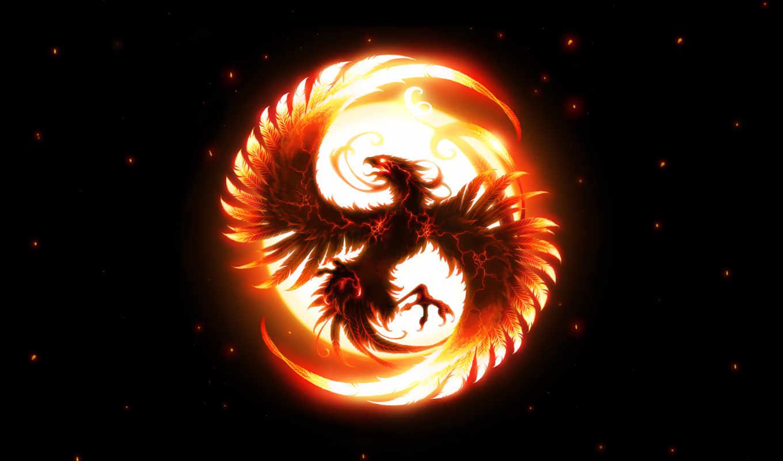 , огонь, птица, феникс, символ,