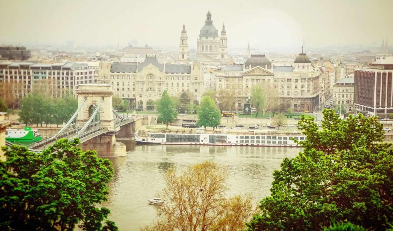 budapest, мост, река, цепь, build, cityscape