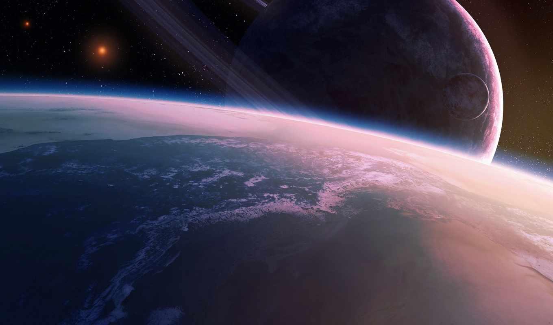 космос, спутник, планета, арт, qauz, звезды, кольца,