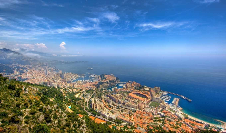 монако, город, море, монте, карло, небосклон, простор, пейзаж, природа, порт, горизонт, картинку,