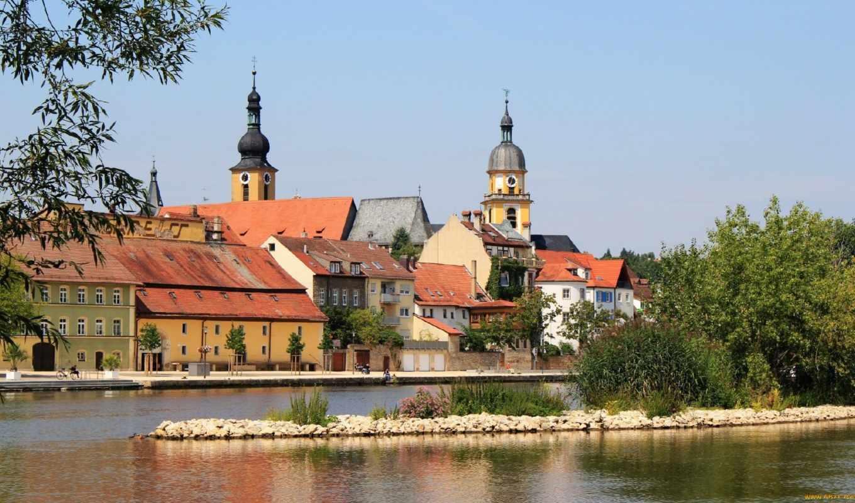 kitzingen, miasteczko, zamek, miasto, góry, niemcy, chmury, rzeka, самый, pulpit,