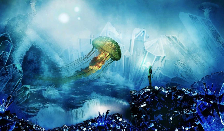 кристаллы, art, jellyfish, крылья, девушка,