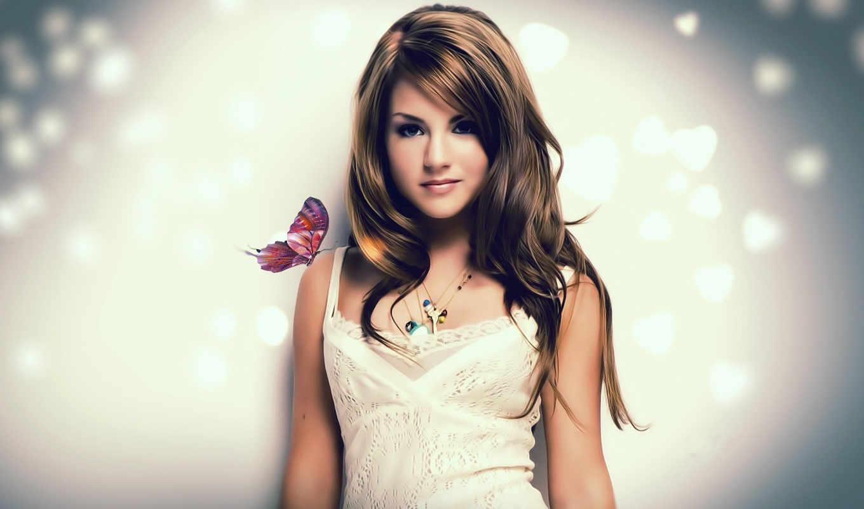 девушка, бабочка, girls, сидит, плечо, розовый, hinh, nen,
