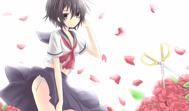 девушка, anime, смотреть, art, nazo, kanojo, морячка, ветер, лепестки, cvety,