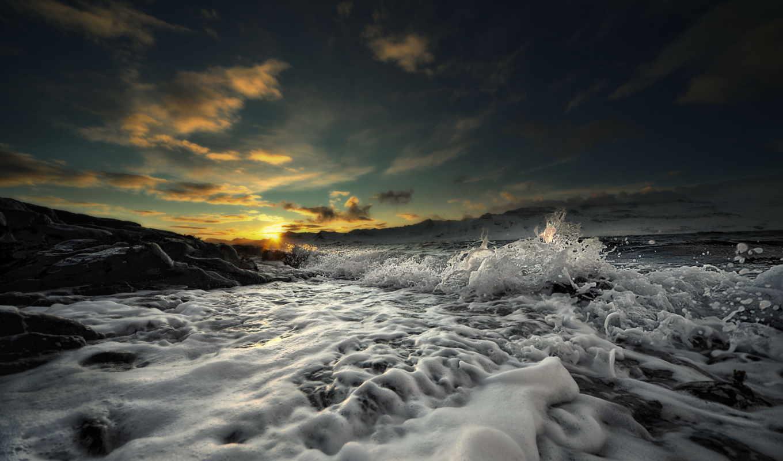 пена, волна, закат, картинку, картинка, waves, мыши, кнопкой, кликните,