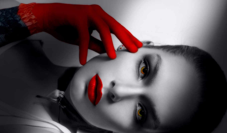 red, black, красные, губы, взгляд, перчатка, лицо, глаза, помада, чёрно, белое,