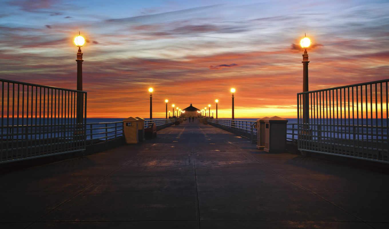 море, мост, закат,